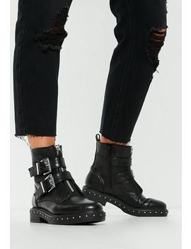 Black Double Buckle Studded Sole Biker Boots by Missguided