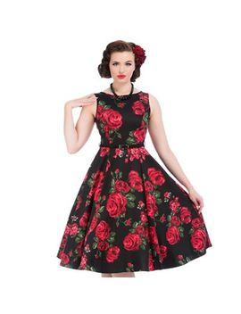 Lady Vintage   Black Rose & Leaf Hepburn Dress by Lady Vintage