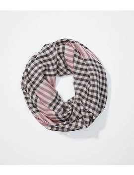 Striped Plaid Infinity Scarf by Loft