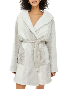 Snow Leopard Print Fleece Hooded Short Robe by Topshop