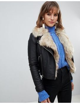 River Island Faux Leather Jacket With Faux Fur Trim In Black by River Island