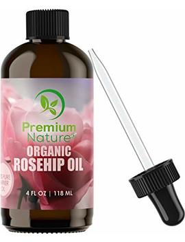 Organic Rosehip Seed Essential Oil   4 Oz Pure Cold Pressed Unrefined Rose Hip Serum For Face Hair Nails 100 Percents Natural Skin Care Moisturizer Scar Removal & Facial... by Premium Nature