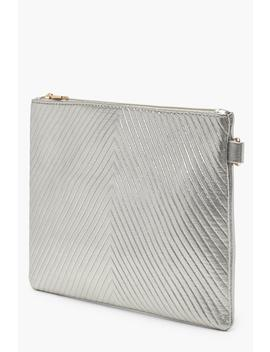Metallic Chevron Ziptop Clutch by Boohoo