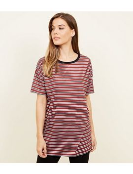 Black Stripe Longline T Shirt by New Look