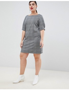 River Island Plus Shift Dress In Gray Check by River Island Plus