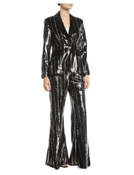 Flared Sequin Striped Blazer And Pants Set by Jovani