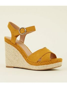 Mustard Suedette Open Toe Espadrilles Wedges by New Look