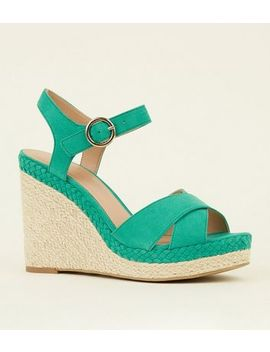 Green Suedette Open Toe Espadrilles Wedges by New Look