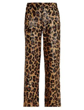 Leopard Sequin Embellished Cotton Trousers by Ashish