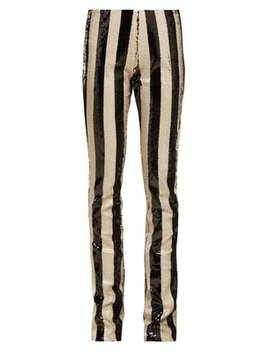 Striped Sequin Kick Flare Trousers by Marques'almeida