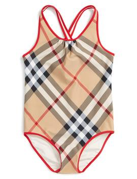 'beadnell' Check Print One Piece Swimsuit by Burberry