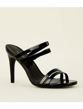 Black Patent Strappy Stiletto Heel Mules by New Look