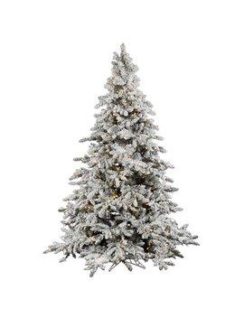 "Pre Lit 7.5' X 65"" Utica Artificial Christmas Tree, Flocked White On Green, White Lights by Vickerman"
