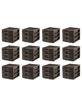Sterilite Medium Weave Office Supplies 3 Drawer Storage Organizer (12 Pack) by Sterilite