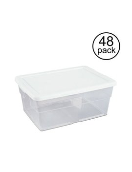 Sterilite 16 Quart Clear Stacking Closet Storage Box Container Tub (48 Pack) by Sterilite