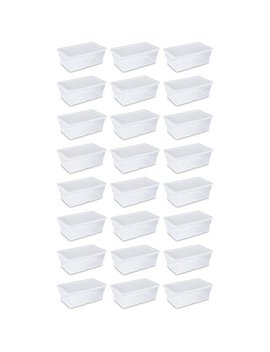 Sterilite 6 Quart Clear Stacking Closet Storage Tote With White Lid (24 Pack) by Sterilite