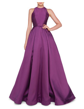 High Neck Sleeveless Ball Gown With Bow Accent by Neiman Marcus