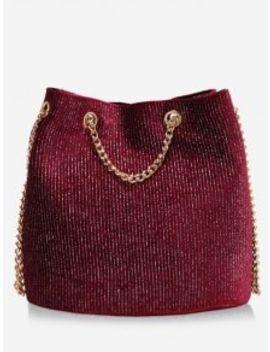 Glitter Chain Crossbody Bag   Red by Zaful