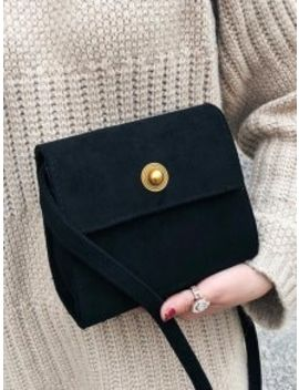 Mini Scrub Pu Leather Crossbody Bag   Black by Zaful