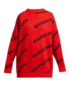 Intarsia Logo Wool Blend Sweater by Balenciaga