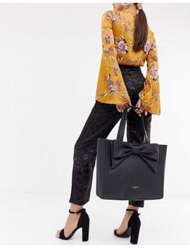 Lipsy Bow Shopper Bag In Black by Lipsy
