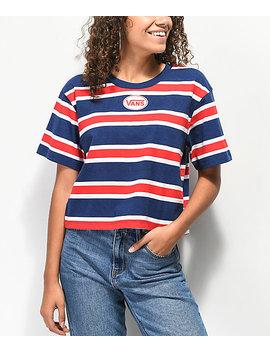 Vans Boxy Crop Red, White & Blue Striped Crop T Shirt by Vans
