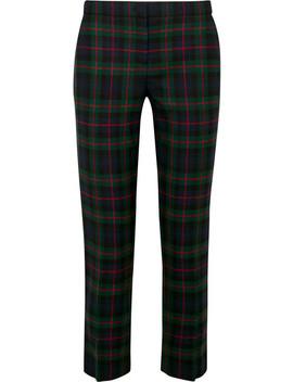 格纹羊毛混纺直筒裤 by Burberry