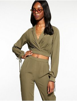 Collared Wrap Crop Top by Charlotte Russe