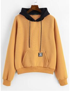 Zaful Pouch Pocket Fleece Pullover Hoodie   Bee Yellow M by Zaful