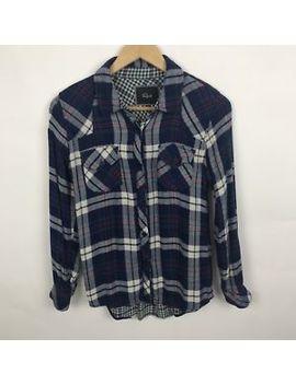 Rails Women's Button Front Flannel Shirt Blue White Plaid 100 Percents Rayon Sz Xs by Rails