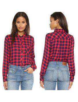 Nwt Rails Hunter Buttondown Shirt Candy Apple Red Navy Mini Check by Rails