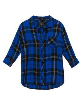 Rails Hunter S Blue Black Plaid Shirt Button Down Top Rayon by Rails