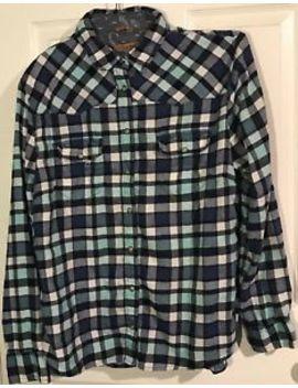 Jachs Girlfriend Blue Flannel Plaid Pearl Button Front Top Shirt Sz Large by Jachs Girlfriend