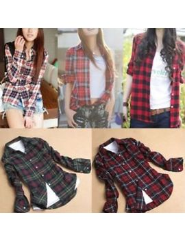 Womens Casual Shirt Button Down Plaid Check Blouse Long Sleeve Flannel Lapel Top by Unbranded
