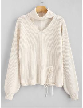 Lace Up Plain Keyhole Sweater   Warm White by Zaful