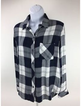 Rails Flannel Plaid Shirt Size X Small Navy Blue White Hunter Midnight Pine D1 by Rails
