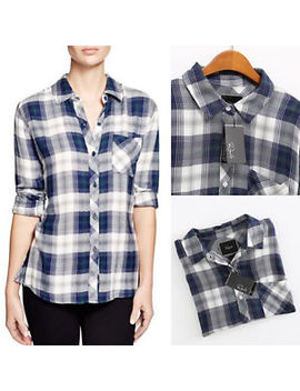 Nwt Authentic Rails Hunter Long Sleeve Plaid Button Down Shirt White Navy Green by Rails