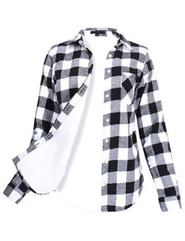 Womens Winter Plaid Flannel Fleece Lined Long Sleeve Button Down Shirt Black New by Korus Apperal