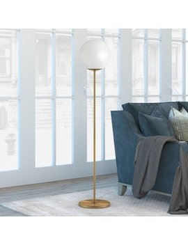 Theia Glam Globe Style Floor Lamp In White With Golden Brass Finish by Hudson&Canal