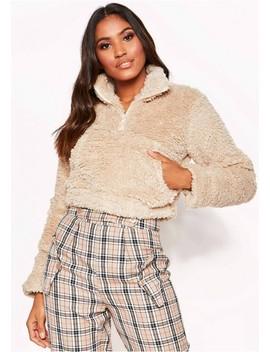 Beige Faux Fur Cropped Zip Jumper by Missy Empire