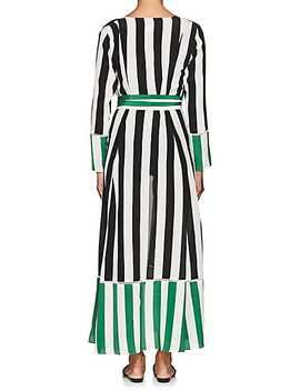Mixed Stripe Silk Belted Maxi Cardigan by We Are Leone