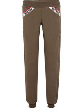 Intarsia Trimmed Stretch Cotton Fleece Track Pants by Moschino