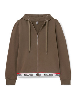 Intarsia Trimmed Stretch Cotton Fleece Hoodie by Moschino