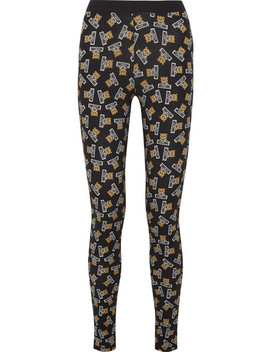 Printed Stretch Cotton Jersey Leggings by Moschino