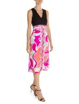 Printed Silk Fit & Flare Dress by Emilio Pucci