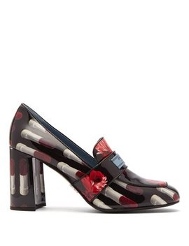 Lipstick Print Patent Leather Loafers by Prada