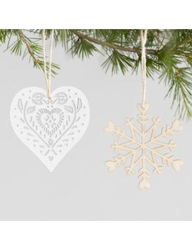 12 Pack Wood Scandinavian Boxed Ornaments Set Of 2 by World Market