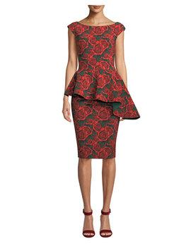 Etheline Asymmetric Peplum Rose Dress by Chiara Boni La Petite Robe