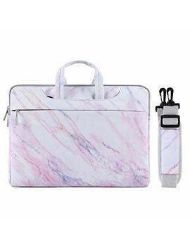Mosiso Laptop Shoulder Bag Compatible 15 15.6 Inch Mac Book Pro, Notebook Computer, Ultraportable Protective Canvas Marble Pattern Carrying Handbag Briefcase Sleeve Case Cover, Pink by Mosiso