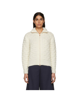White & Beige Textured Knit Jacket by See By ChloÉ